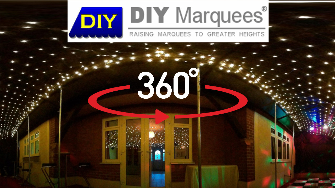360° Virtual Tour of a 3x14m Commercial Demi DIY Marquee with red carpet and blackout linings