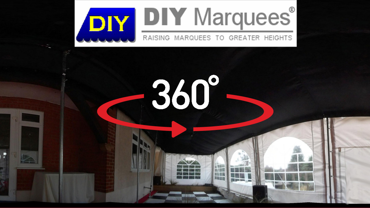360° Virtual Tour of a 3x14m Commercial Demi DIY Marquee with blackout roof lining