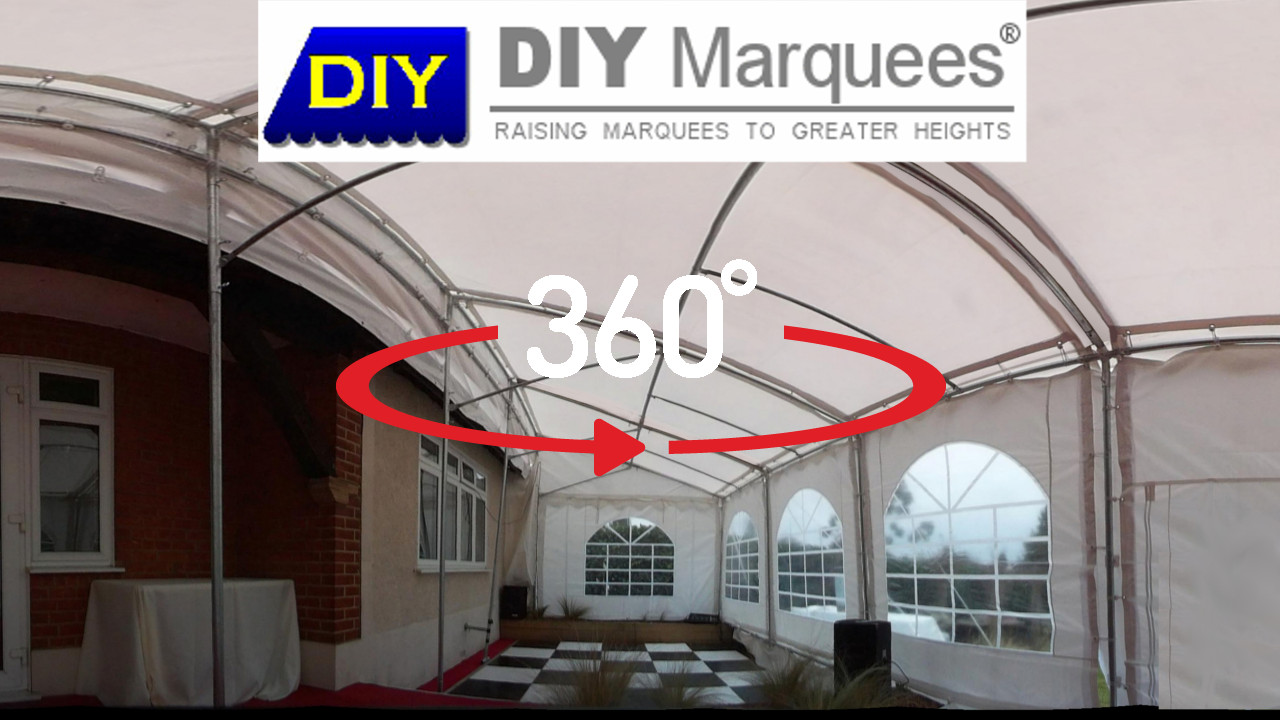 360° Virtual Tour of a 3x14m Commercial Demi DIY Marquee with red carpet