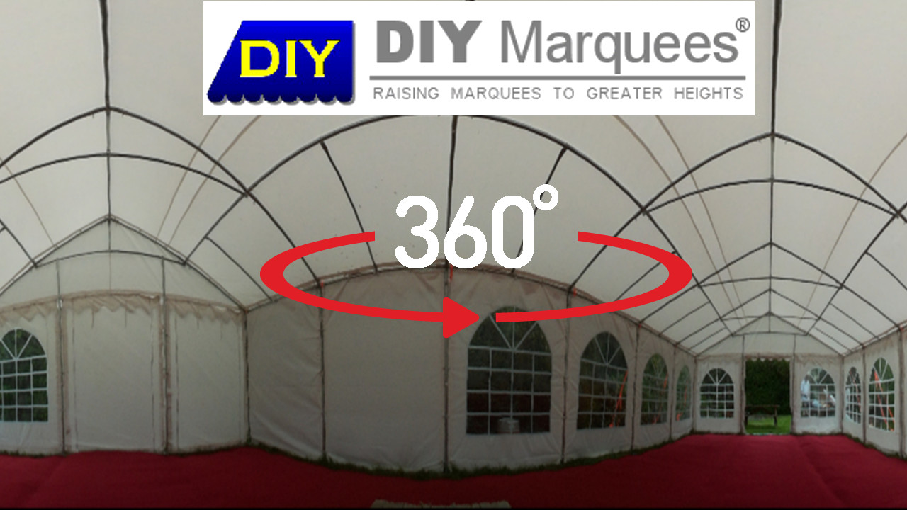 360° Virtual Tour of a 6x12m DIY Marquee with red carpet flooring