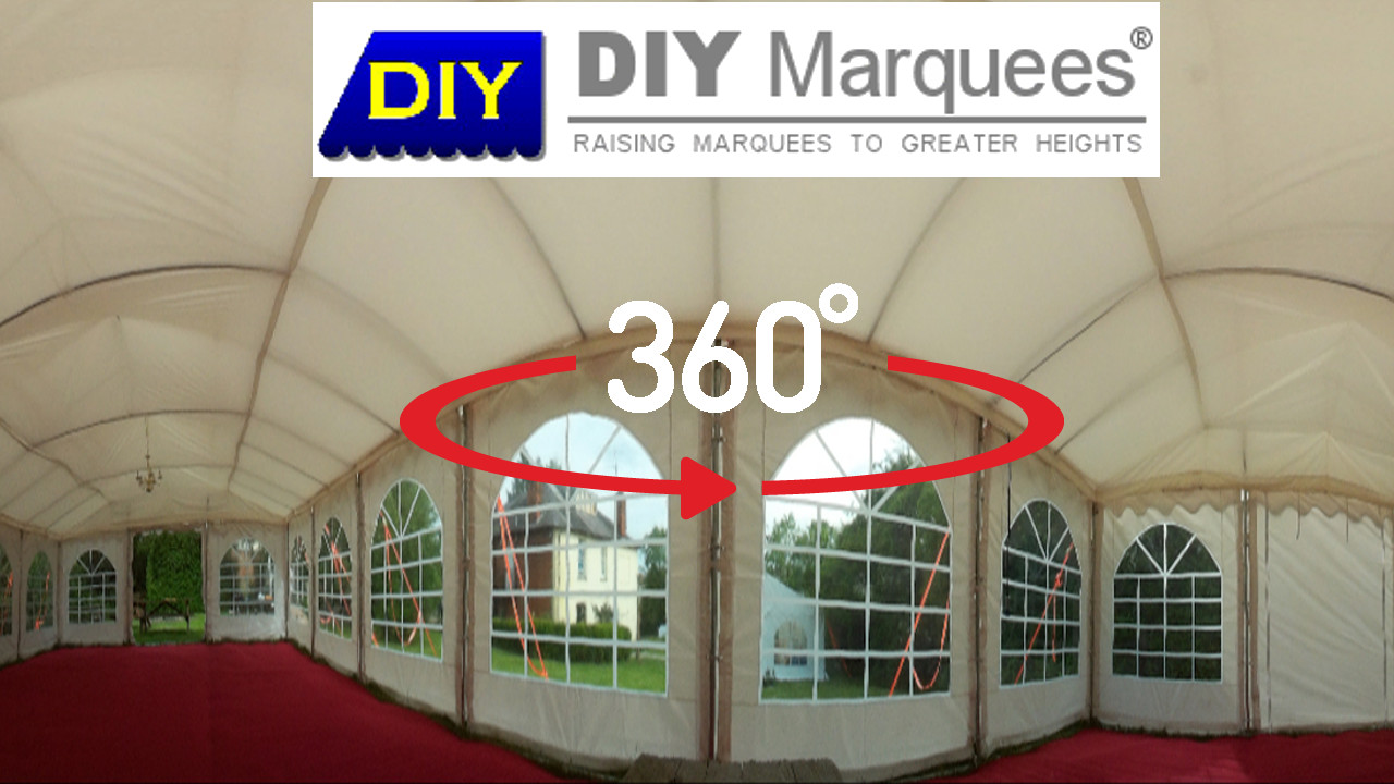 360° Virtual Tour of a 6x12m DIY Marquee with red carpet and IVory roof linings