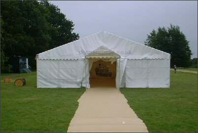 9m marquee with a walkway used as an entrance porch