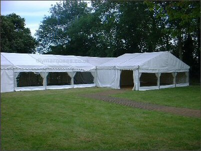 Two 9m marquees with panoramic windows (later ones have dutch lacing)