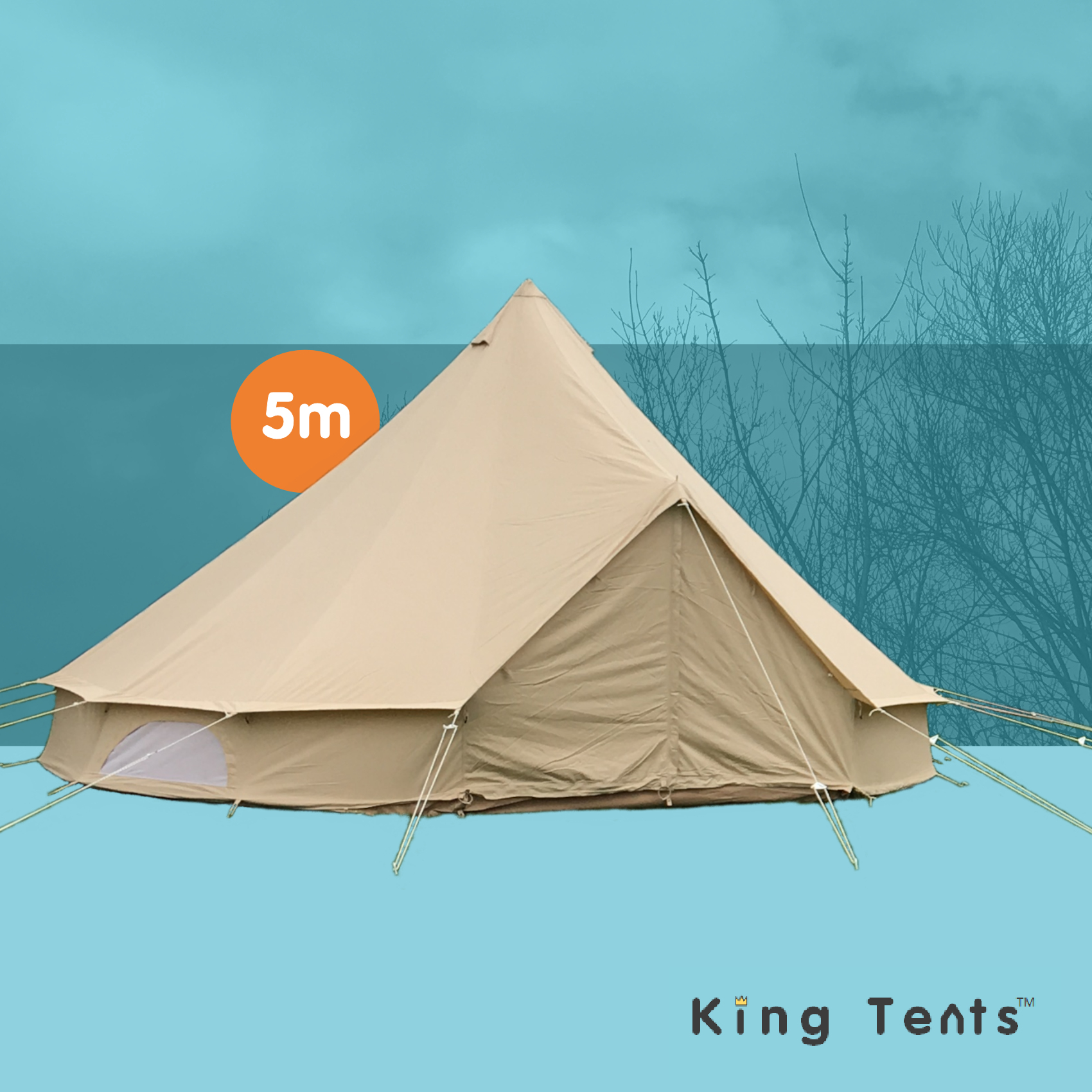 Details about Heavy Duty 5m Canvas Bell Tent with mesh door - Gl&ing equipment by King Tents  sc 1 st  eBay & Heavy Duty 5m Canvas Bell Tent with mesh door - Glamping equipment ...