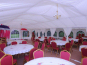 Two lined marquees with chandeliers and honeybeige carpet