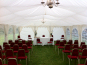 A DIY Marquee with theatre style seating for a ceremony