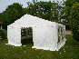 A 6m x 6m DIY Marquee with a small end entrance open.