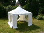 3.6m x 3.6m Pagoda with entrance unzipped and rolled up
