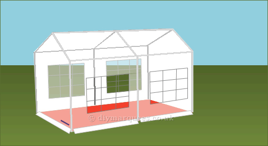 3x4m DIY Party Tent 240gsm PE Roof and Sides, 38mm steel frame