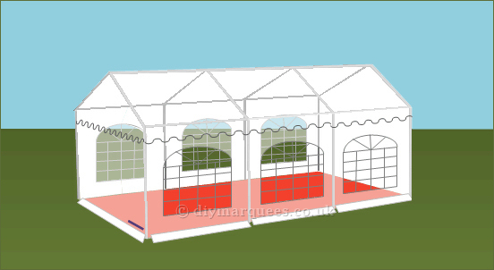4x6m Classic Diy Marquee 500gsm Pvc Roof And 380gsm Pvc