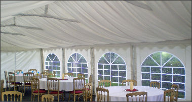 Ivory pleated marquee linings